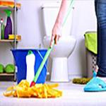 cleaning a bathroom floow